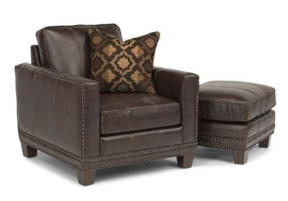 Picture of Port Royal Leather Chair & Ottoman Model 1373-10-08